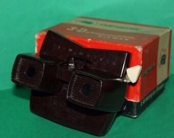 Sawyers Viewmaster Stereoscope Model E Bakelite Brown 1955 - 1961 Box