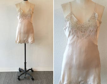 Chantelle 20s step in | Vintage pale pink silk and lace romper | 1920s silk lingerie one peice