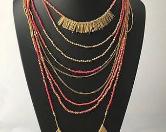 Necklaces for women, Long necklace, Tribal Necklace, Beads necklace, beaded necklace, multi layer necklace, multi strand necklace