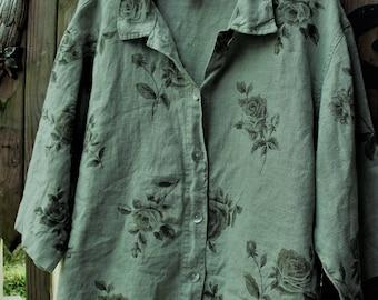 Linen Jacket/ Sage Green-Roses/ Plus Size Jacket/ 100 Percent Linen/ Thrifted Vintage/ Sweet Jessie Jacket/ Shabbyfab Funwear/