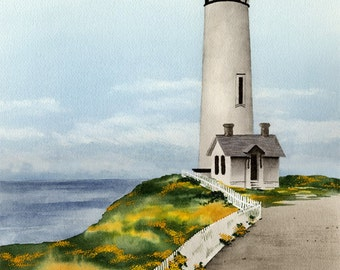 Pigeon Point Lighthouse - Original Watercolor Painting by Artist DJ Rogers