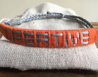 Creative Bracelet, positive affirmation, handmade bracelet, inspiration jewellery,