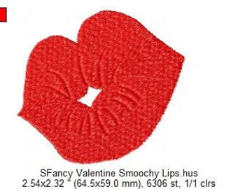 SFancy Machine Embroidery - Smoochy Puckered Valentine Lips - 4 x 4