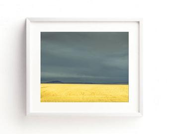 "large colorful landscape, minimalist landscape, large colorful wall art, large wall art, large art, art prints - ""Wheat Field and Storm"""