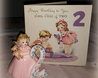 Vintage Josefs Originals Josef Birthday Girl Second Porcelain Figure With 1940s Birthday Card