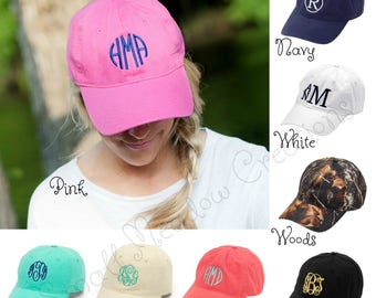Monogrammed Cap, Personalized Cap, Personalized Baseball Cap, Women's Cap, Girl's Cap, Summer Hat, Monogram Hat, Twill Hat, Adjustable Hat