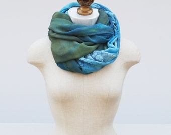 silk chiffon scarf by 88editions, hand printed blues and greens, sheer spring wrap