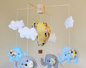 Hot Air Balloon Elephant Baby Mobile - Blue, Grey, and Yellow - Clouds - Polka Dots