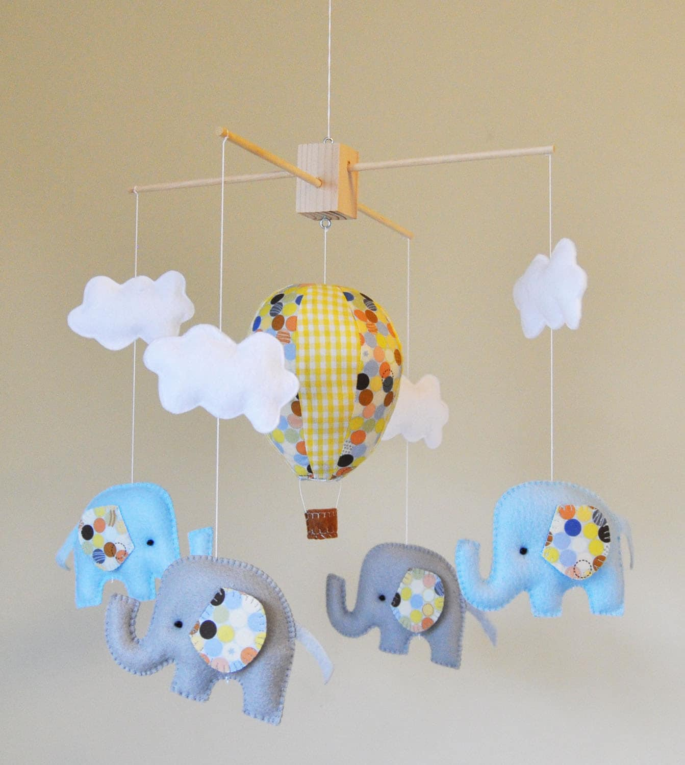 hot air balloon elephant baby mobile blue grey and yellow. Black Bedroom Furniture Sets. Home Design Ideas