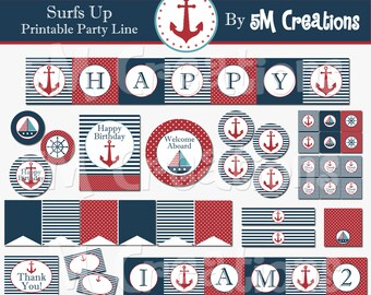Nautical Printable Birthday Party Package - Nautical Printable Decorations  - Nautical Banner - Sail Boat Decorations - INSTANT DOWNLOAD pdf