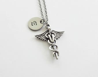 Veterinarian Initial Necklace Vet Personalized Silver Necklace Medicine Animal Doctor Caduceus Medical Hand Stamped Long Necklace
