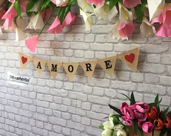AMORE Italian Love  Mr Mrs Photobooth Banner Burlap Hessian Banner,36 colours ,Rustic wedding Photo booth ,Top Table Decor , Wedding Banner