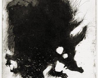 Werewolf - original handpulled aquatint etching - black and white - illustration