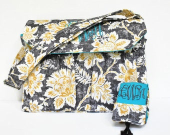 Personalized Floral DSLR Camera Bag in Gray Yellow Turquoise with Camera Strap in Canon Rebel T3i EOS 55mm Monogrammed Bag