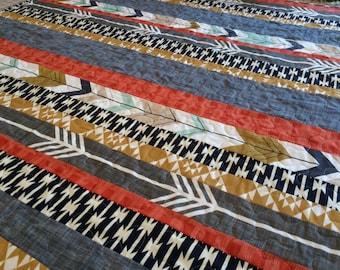 Rustic Farmhouse Baby Quilt Dakota Crib Quilt Crib Baby Boy Strip  Woodland Aztec Arrows Tribal Gender Neutral Gray Navy Gold Red Navajo