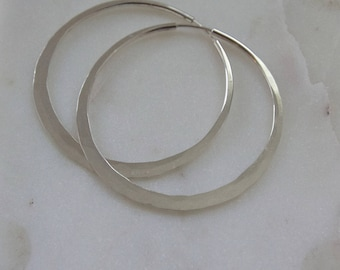 "2 3/8"" Hammered Sterling Silver Hoop Earrings (EH7)"