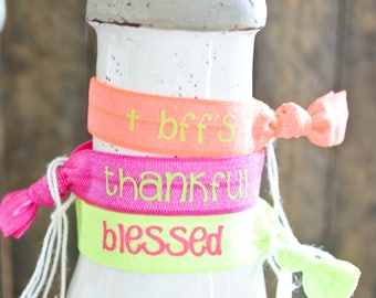 Blessed Neon Green Inspirational Hair Tie