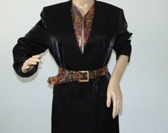 Vintage 90s VERA MONT Shiny elegant Women blazer Black french Evening jacket Cocktail jacket Long party blazer Size 38  Medium