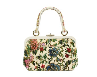 Vintage  60s 70s Handbag Purse Carpet Bag Needlepoint Purse Floral Hippie Bag Vinyl Frame Womens Fashion Accessories 1960s 1970s
