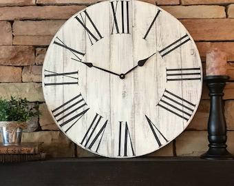 "24"" Antique Clock, Rustic Clock, Vintage Clock, Home Decor, Farmhouse Decor, Farmhouse Clock"