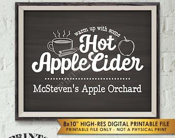 "Hot Apple Cider Sign, Custom Cider Sign, Signature Drink Sign, Fall Apple Orchard Sign, Chalkboard Style PRINTABLE 8x10"" Apple Cider Sign"