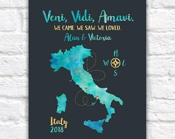 Italy Travel Map, Honeymoon or Trip to Italy, Rome, Florence, Venice, Naples, Amalfi, Cinque Terre, Pisa, Milan, Lake Como, Travels | WF371
