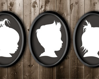 3 Traditional Profile Silhouettes, Siblings Silhouette, Silhouette from your photo, Kids Room Decor, Silhouette Art Silhouette Portrait.