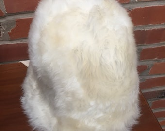 Vintage Mid Century Lamb Fur Hat Chin Straps Made In Italy Womens