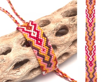 Friendship bracelet - diamond flame - embroidery floss - woven - knotted - macrame - thread - string - handmade - pink - yellow - red