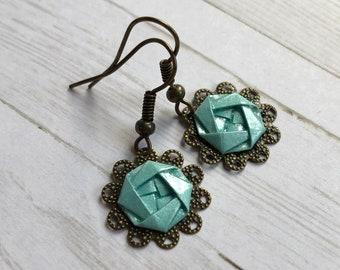 Blue Camellia Lace Earrings