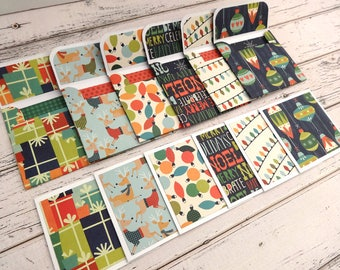 Mini Note Cards, Mini Note Card Set, 3x3 Cards, Christmas Cards, Mini Christmas Cards, Set of 6 Mini Note Cards and Envelopes, Christmas Joy