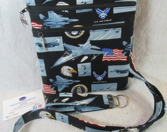 Handcrafted Crossbody USAF Air Force with logo Bag    Adj Strap