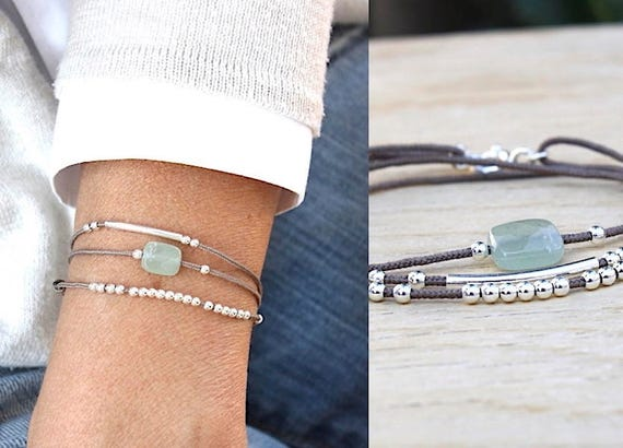 cord bracelet taupe three towers aventurine ring and 925 Silver beads