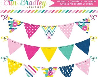 80% OFF SALE Summer Brights Bunting Clipart Banner Flag Clip Art Graphics Commercial Use OK Great for Logos