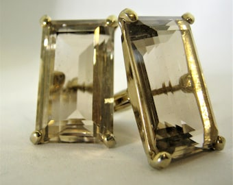 Vintage Swank Large Glass Cufflinks*Rectangular Faceted Glass Cufflinks*Topaz Glass*1960's Cufflinks*Men or Women*Father's Day Gift