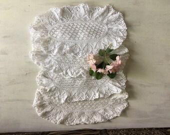 4 Vintage White Dainty Crochet Oval Doilies