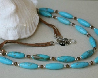 Two Strand Magnesite Barrel Leather Cord Necklace BOHO Style
