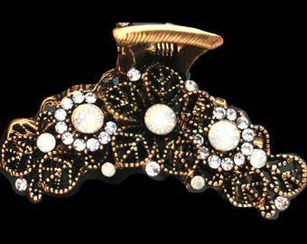 New Antique Gold With Opal & CZ Crystal  2'' Hair Claw Clip