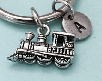 Train keychain, train charm, railway keychain, personalized keychain, initial keychain, initial charm, customized keychain, monogram