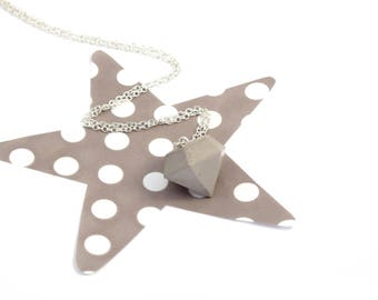 Concrete and silver plated or gold diamond necklace
