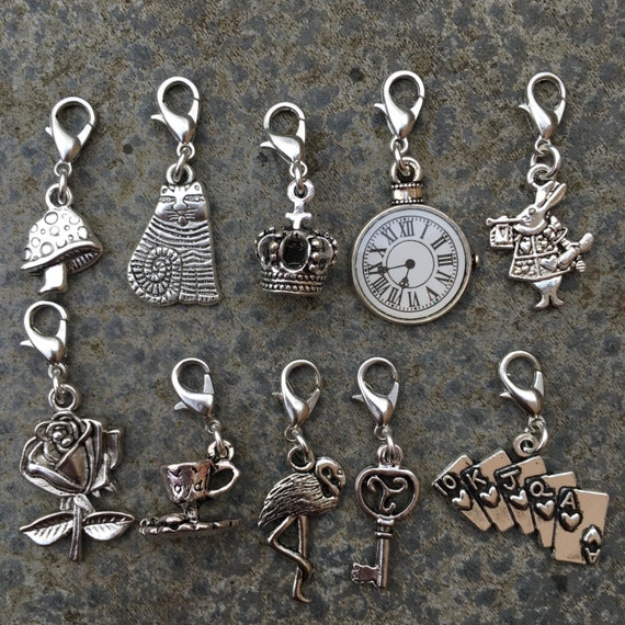 Alice in Wonderland, set of themed stitch markers or progress keepers