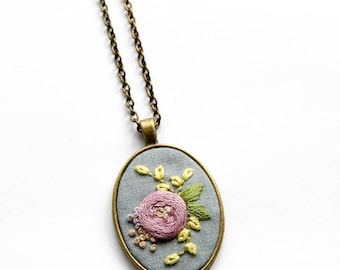 Hand Embroidered Lavender Purple Pendant Necklace | Embroidered Necklace Jewelry | Summer Necklace Jewelry | Modern Embroidery Gift |