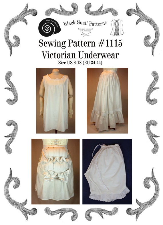 Victorian Lingerie – Underwear, Petticoat, Bloomers, Chemise Victorian Underwear Sewing Pattern #1115 Size US 8-30 (EU 34-56) Pdf Download !!!NEW!!!Victorian Underwear Sewing Pattern #1115 Size US 8-30 (EU 34-56) Pdf Download !!!NEW!!! $6.88 AT vintagedancer.com
