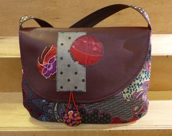 SC9 Asian fabric Baroque prints and flap bag in Burgundy leather