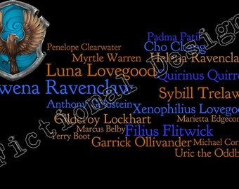 Harry Potter Ravenclaw Characters Word Cloud Art.