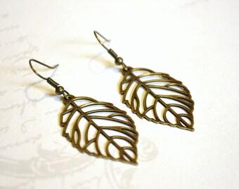 Antique Brass Leaves Earrings, Dangle Earrings, Long Earrings, Christmas Gift, Fall Jewelry, Fall Earrings