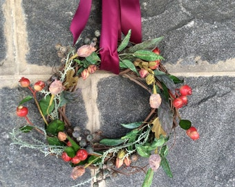 Spring ad summer wreath, year round wreath, cottage wreath, mini wreath, crab apple wreath