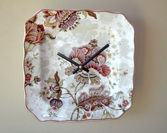 Victorian Floral Wall Clock, 8-3/4 Inch Ceramic Plate Clock, SILENT Kitchen Clock, Unique Wall Clock - 2356