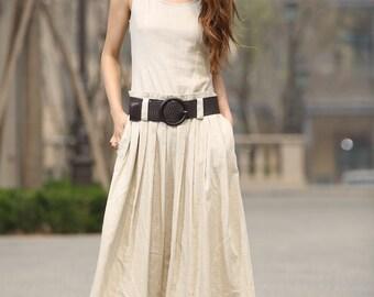 maxi dress, off white dress, womens dresses, midi dress, casual dresses, linen dress, pleated skirt ,Gift, sleeveless dress linen 931