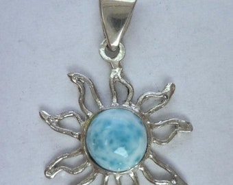 MEMORIAL DAY SALE Stunning Dominican Larimar Sun Pendant in Handmade Sterling Silver Setting w/Free Sterling Silver Chain